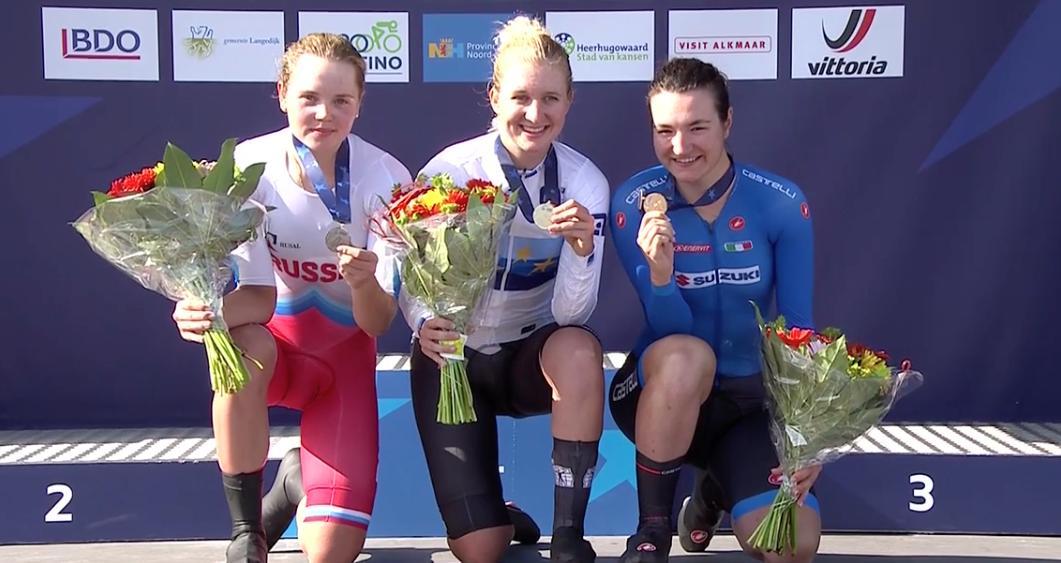 Россиянка поднялась на подиум ЧЕ по велоспорту в Алкмаре